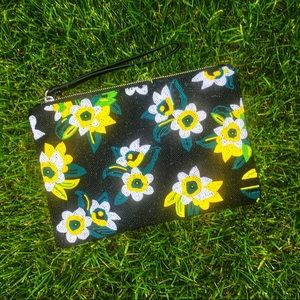 Sam Edelman flower beaded zip top clutch bag